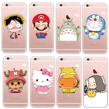Cute Cartoon Characters Animal One Piece Doraemon Pattern Design Cases Cover For iphone 5 5s / 6 6s Soft Shock-proof  Case