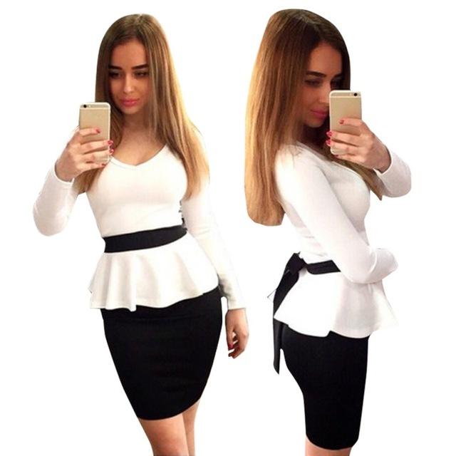 Мода женщин v-образным вырезом баски одежда работа свободного покроя Bodycon влагалище платье S-XL