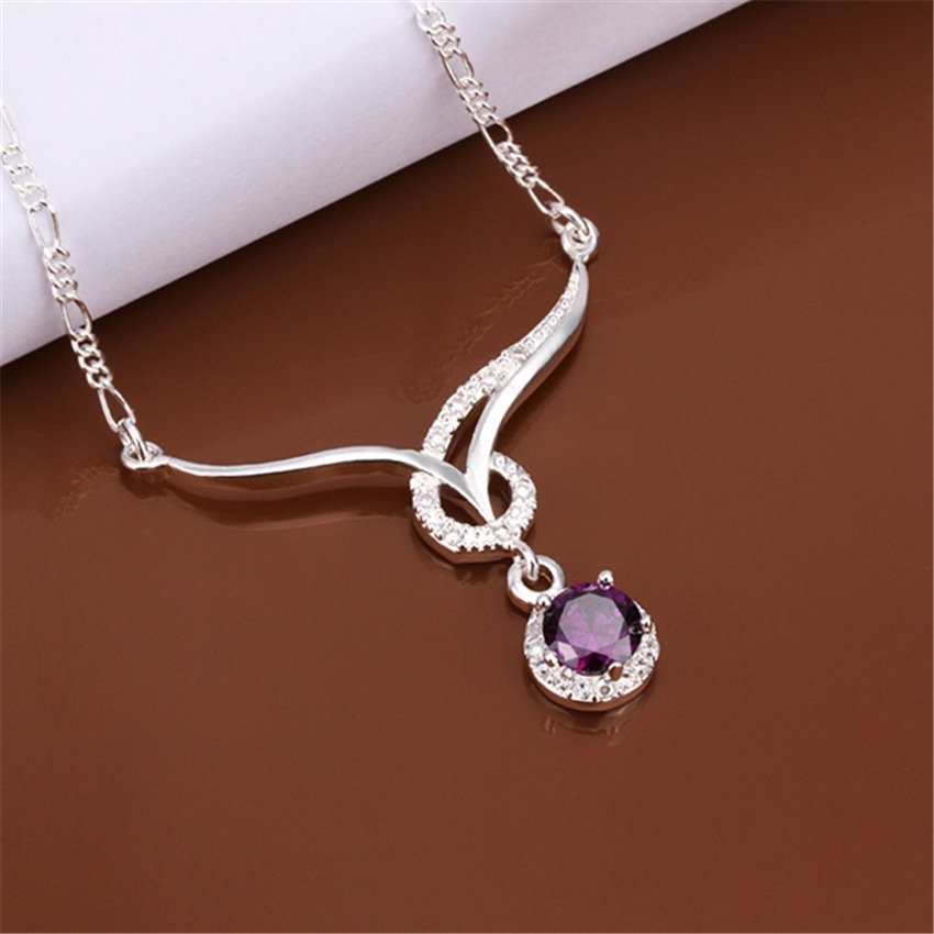 Factory direct new special silver plated jewelry European style charm purple crystal zircon pendant necklace N484 Kinsle(China (Mainland))