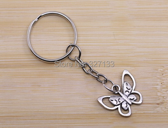 Free Shipping New Fashion 50pcs Antique Silver Butterfly Key Rings Keychain Charms Metal Keyring DIY Metal Jewelry 69mm S5323<br><br>Aliexpress