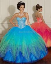 2015 neue maßgeschneiderte orange/blau tüll kristall quinceanera kleider ballkleider vestidos de Debütantin quinceanera kleider(China (Mainland))