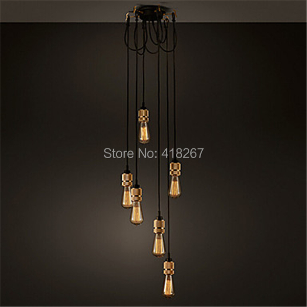 Ambient Light Vintage Industrial Hooked Pendant 6.0 Creative lights Restaurant Living Room Bulb Included free shipping(China (Mainland))