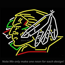 North Dakota Fighting Sioux Hockey Neon Sign Team LOGO Handcraft Real Glass Tube Neon Glass Light Neon Bulb Publicidad  24x31(China (Mainland))