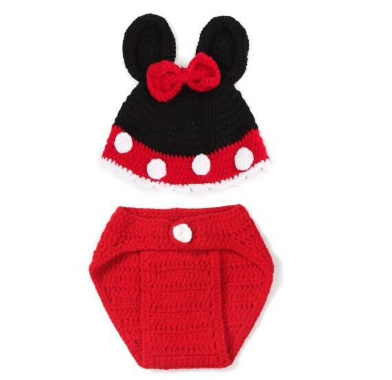 Mickey Mouse Newborn Photo Clothes Baby Photography Prop Hot Knit infant Phot...