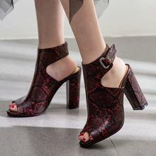 Kadın Yaz yarım çizmeler Yılan Cilt Desen Sandalet Yüksek Topuklu Burnu açık Tıknaz Yüksek Topuklu Gladyatör Sandalet Moda parti ayakkabıları(China)
