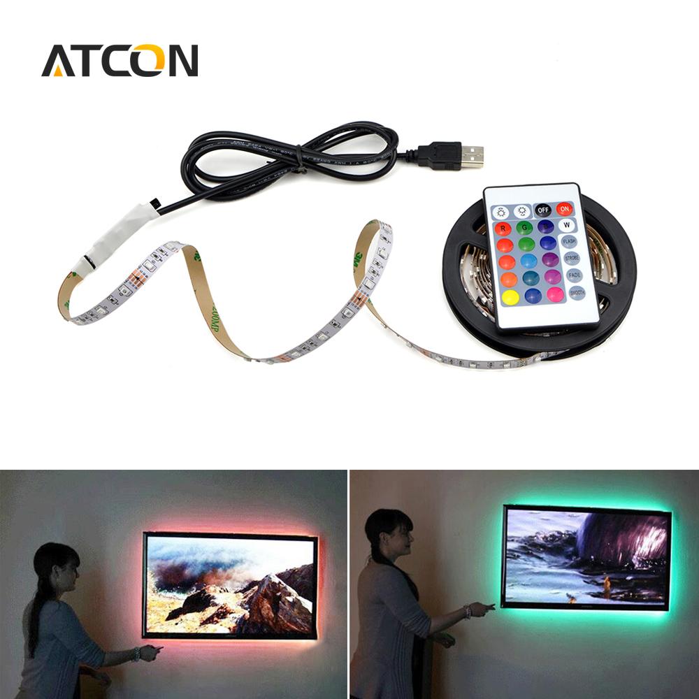 1Pcs USB Powered RGB 5V LED Strip light 50cm 1M 2M 3528 / 5050 SMD Holiday Light Tape Decor LCD TV Monitor Background Lighting(China (Mainland))
