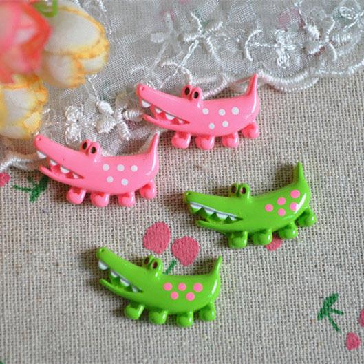 20pcs/lot hot sell lovely colorful crocodile 28*16mm flat back Resin Cabochons Scrapbooking Hair Bow DIY Frame Craft(China (Mainland))