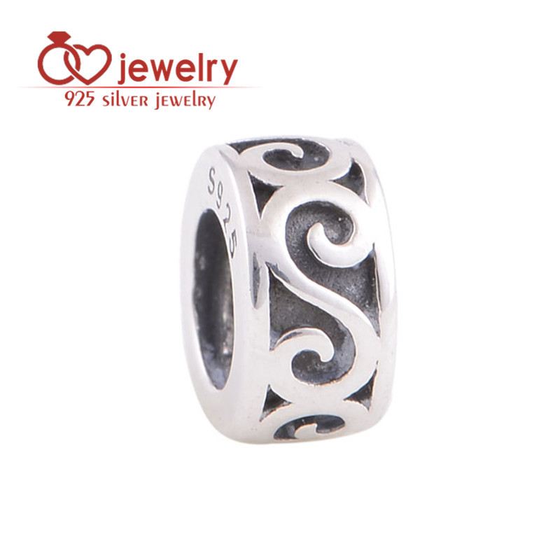Authentic Original Beads Sterling Silver 925 Spacer Beads Fine Jewelry Fit Diy Bracelet Snake Chain European Metal Spacer T109(China (Mainland))