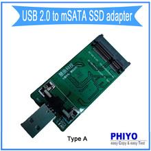 USB 2 to msata SSD adapter, USB2 to msata SSD converter,  USB2 to msata SSD riser card, USB to msata adaptor, type A phiyo(China (Mainland))
