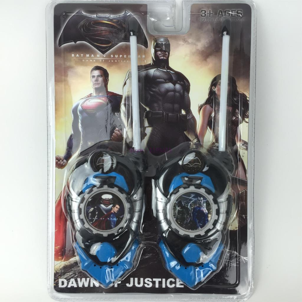 2pcs/lot Superman Batman Toy Interphone Dawn Of Justice Children Game Intercom Electronic Toys Walkie Talkies For Kid Gifts #FB(China (Mainland))