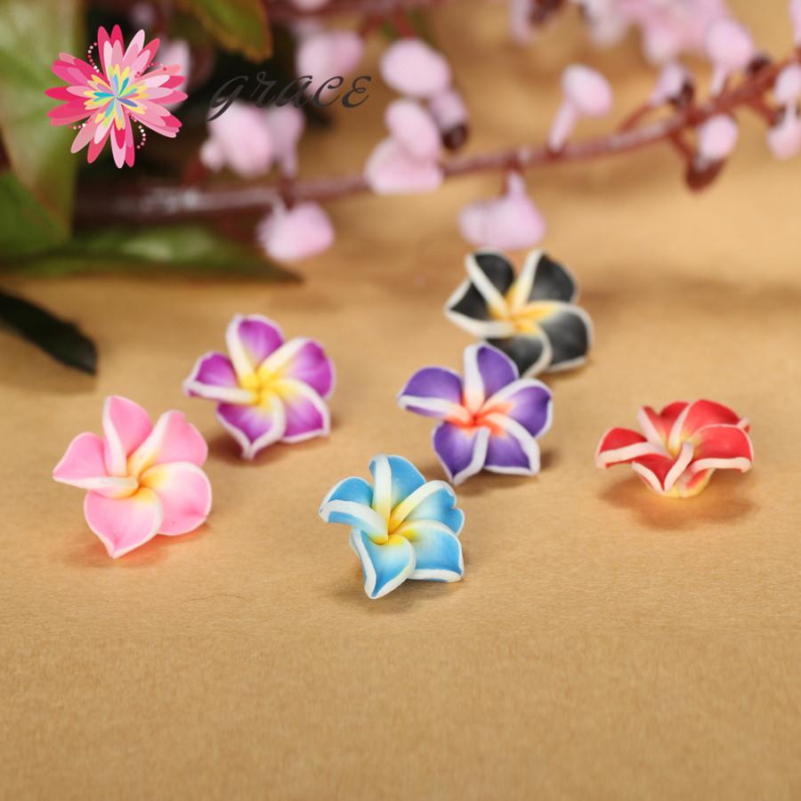 25pc/lot High Quality Egg Shape Polymer Flower Clay Fimo Miniature Frangipani Flower Diy Earring Stud Dust Plug Hair Accessories(China (Mainland))