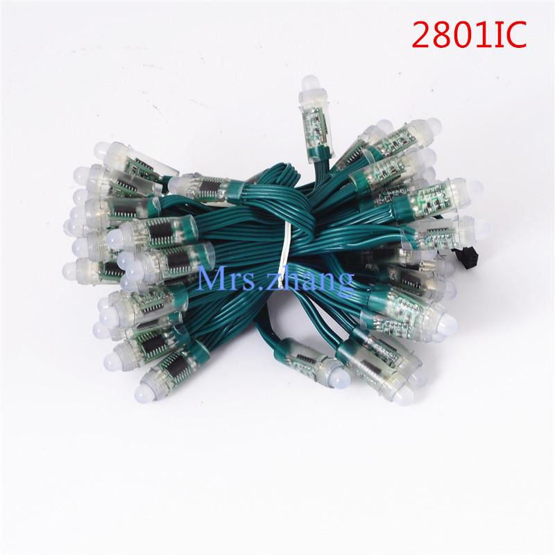 12mm WS2801 Led Pixel Module RGB 50pcs a string Light Addressable, Green Chrismas Tree,IP68 waterproof 3pin,Green Wire,DC 5V,<br><br>Aliexpress