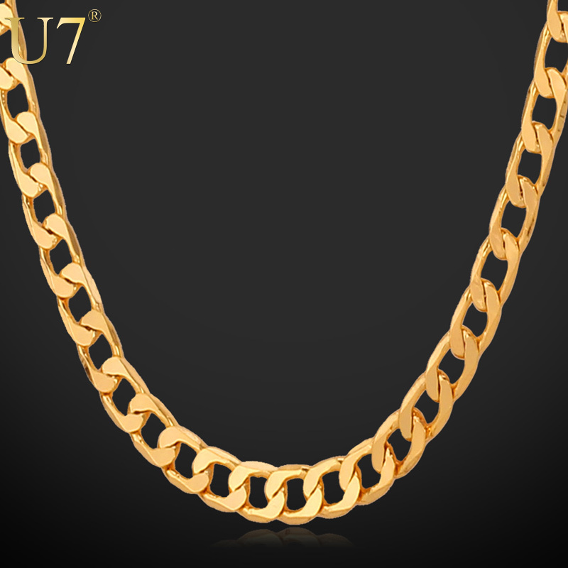 18K Real Gold Plated Men Jewelry With '18K' Stamp 5MM Necklaces Free Shipping Wholesale New Fashion Link Chain Necklaces N311(China (Mainland))