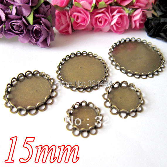 Wholesale lot Antique bronze 15mm blank jewelry bezels pendant tray base blanks for globe glass bottle vial jewelry diy(China (Mainland))
