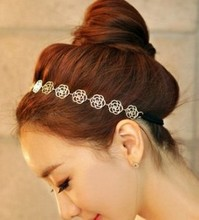 LZ Jewelry Hut H3 2016 New Arrival Plated Gold Flower Elasticity Hairbands / Hair Wear/ Headband For Women E-shine Jewelry(China (Mainland))