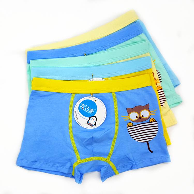 Funny Owl Print Children Underwear Boys Breathable Cotton Children's Boxers Baby Boys Cartoon Combed Cotton Shorts(China (Mainland))
