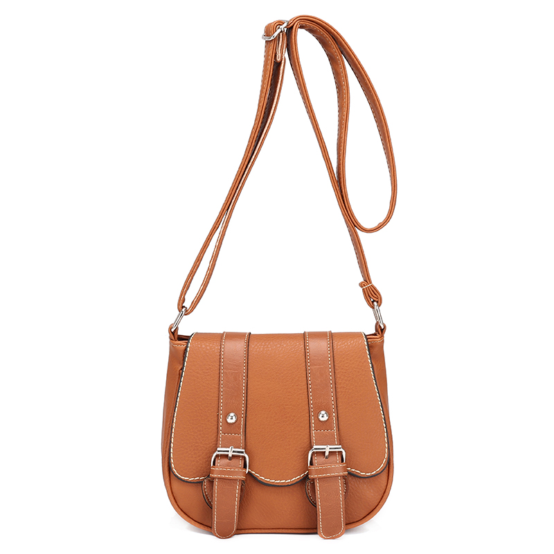 Women Real Composite Bag Leather Saddle Bag Retro Hippie Classical Brown Soft Cute Mini Cross Body Over Shoulder Pouch Bag PC13(China (Mainland))