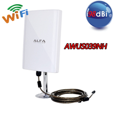 2015 New Model High Power ALFA AWUS039NH 6800mW WiFi USB Adapter 98dbi highgain waterproof function 10m black cable Freeshipping