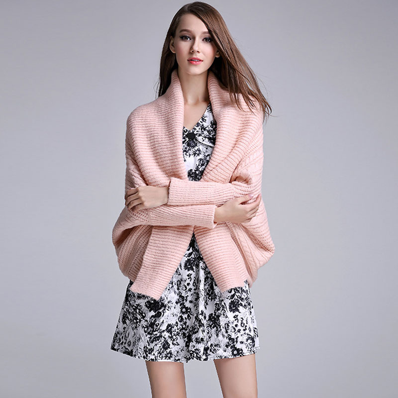 2015 Fashion Cardigan Women Lapel Batwing Sleeve Oversize Poncho Sweater Knitwear Women Pink Tricot Cardigans Free Shipping(China (Mainland))