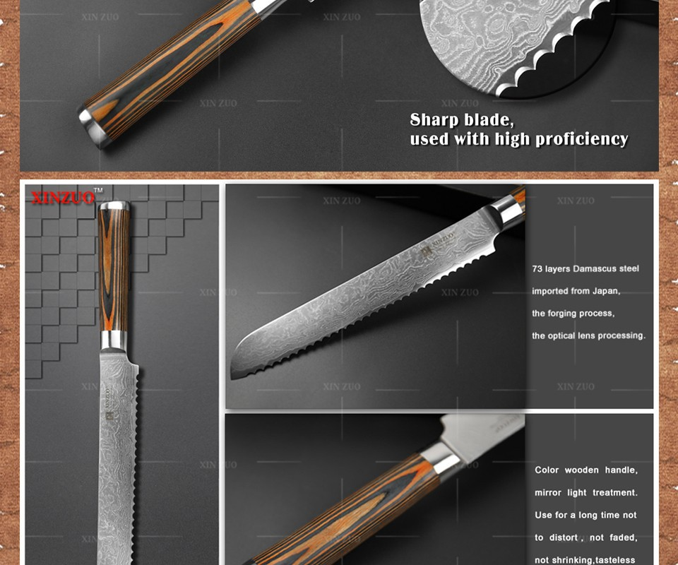 "Buy XINZUO 8"" inch bread knives Damascus kitchen knife sharp japanese VG10 cake knife cook tool micarta handle free shipping cheap"