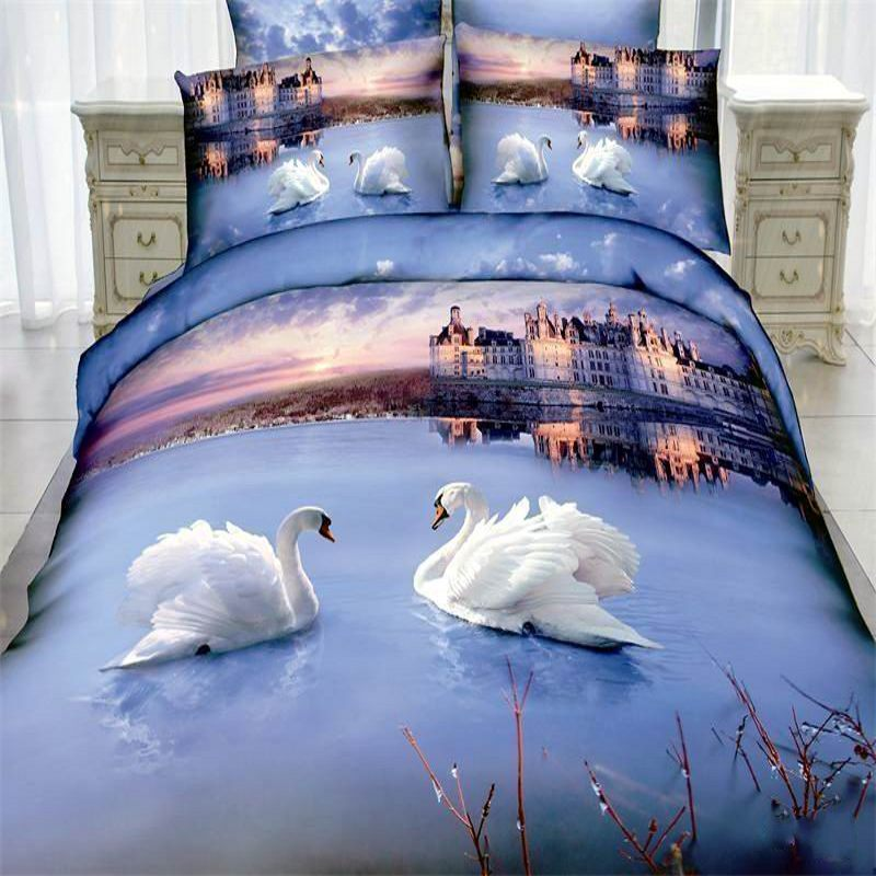 Sunset White Swan 3D bedding set cotton 4pcs Queen King size bedclothes oil painting animal Duvet/quilt cover sets bed linen(China (Mainland))