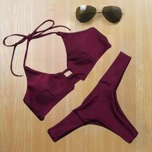2016 Sexy Bandage Push up Brazilian Wine Red Elegant Bikini Women Swimwear Swimsuit Biquini Beach Wear Bathing Suit Bikinis Set