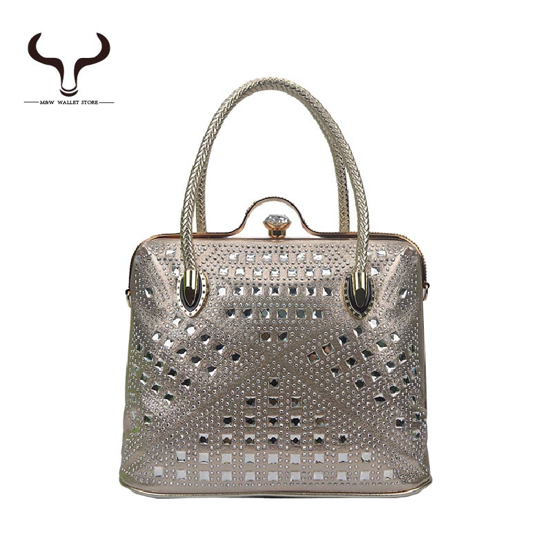New 2016 High Quality Womens Totes Rhinestone Decoration PU Leather Women Handle Bags Fashion Lady Socialite Bag YF/349<br><br>Aliexpress