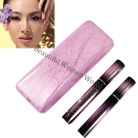 2pcs Magic Lashes Waterproof Fiber Mascara Black Long Makeup Eyelash Grower Mascaras + Box(China (Mainland))
