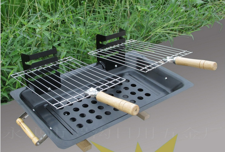 Gaia BBQ Grills Double adjustable height of barbecue camping outdoor charcoal grill(China (Mainland))