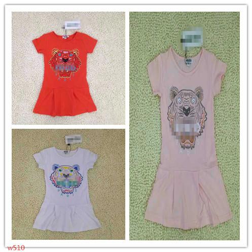 2015 new arrival girl dress Princess summer short sleeve printing tiger name brand cotton o collar girls clothes hot sale w510(China (Mainland))
