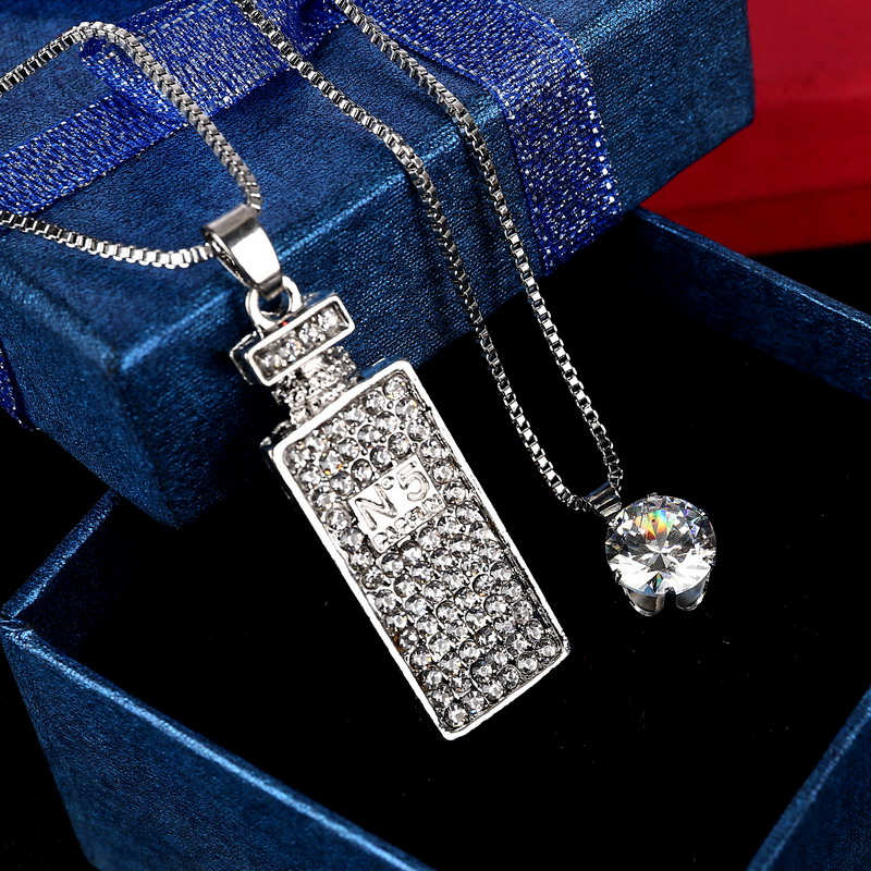 Fashion Brand New Maxi Mutil Layer Chain Sliver Plated Perfume Bottles Crystal Pendant Necklace For Woman Statement Jewelry(China (Mainland))