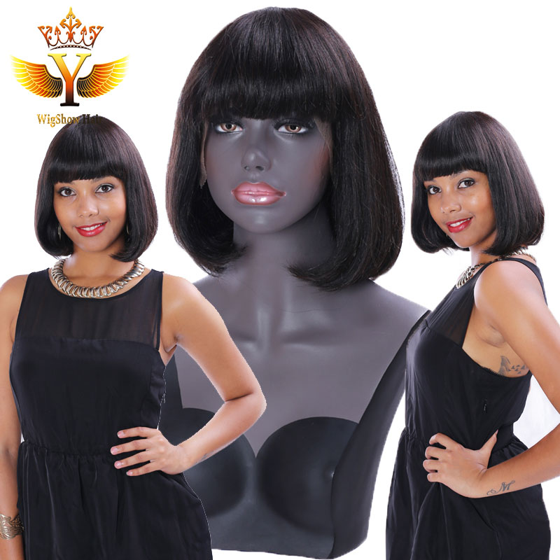 Фотография Straight Lace Front Human Hair Bob Wig Cheap Short Bob Wigs for Black Women Unprocessed Virgin Hair Full Lace Wig with Bangs 7a