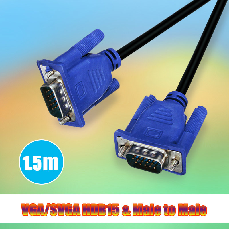 100% Top Quality Hot Blue 5FT 1.5M 15 PIN SVGA HDB15 SUPER VGA M/M Male To Male Connector Cable Cord Extension Monitor FOR PC TV(China (Mainland))