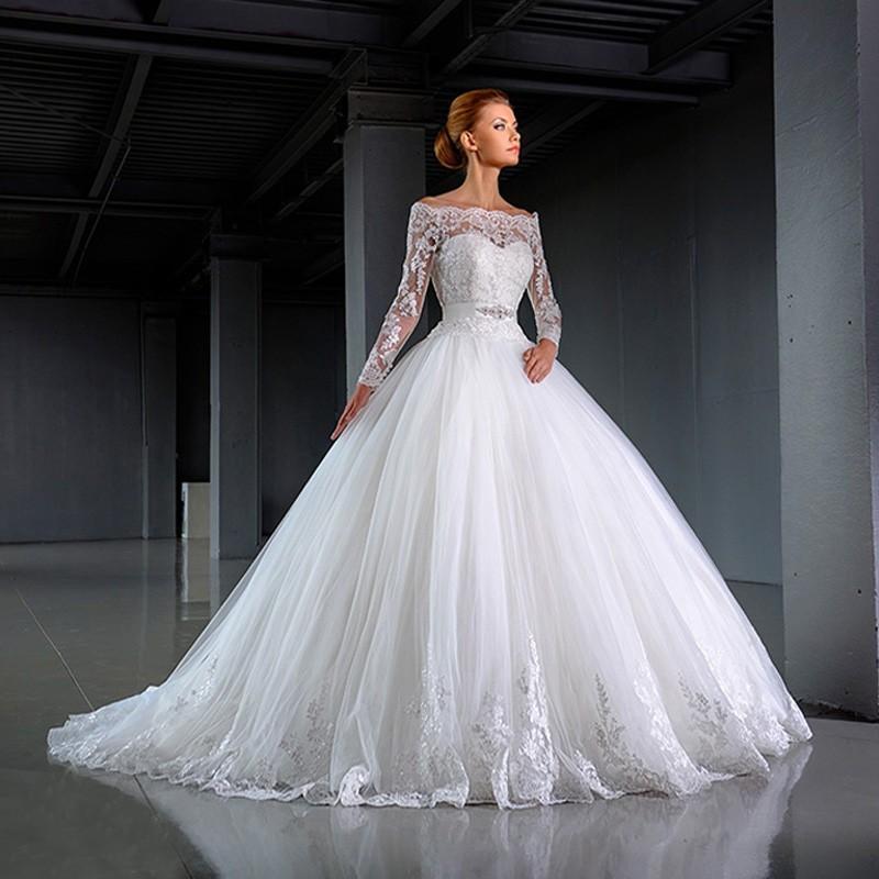 Vintage Lace Long Sleeve Wedding Dress 2016 Vestido De Noiva Strapless Tulle