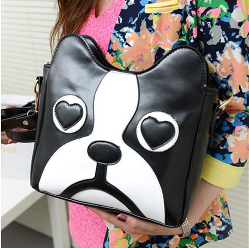 2015 Fashion Women PU Leather Patchwork Animal Prints lovely dog Handbag brand girls Vintage female messenger shoulder bag B1057(China (Mainland))