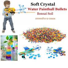 10000Pcs 9-11mm Soft Crystal Water Paintball Bullet Gun Toy Nerf Bibulous Water Gun Accessories Bullet Bonsai Soil Free Shipping