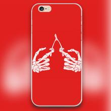 human skeleton hands Design transparent case cover cell mobile phone cases for Apple iphone 4 4s 5 5c 5s 6 6s 6plus hard shell