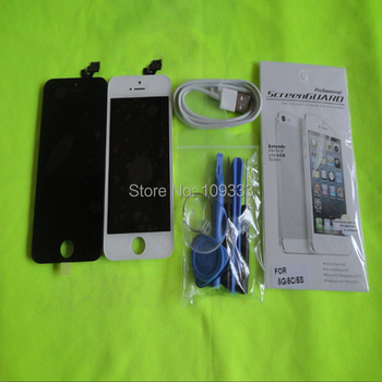 free shipping 100% good qulity new black or white Touch Screen Glass Digitizer LCD Display Assembly for iPhone 5+tools+usb