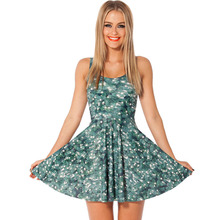 1036 Fashion cheap Women's 3D printing christmas trees prints elastic summer sexy Girl skater one-piece pleated dress