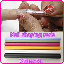6 Pcs Nail Art Tools Different Size Curve Rod Sticks Artificial Nail Tool + Free Shipping ( NR-WS65 )