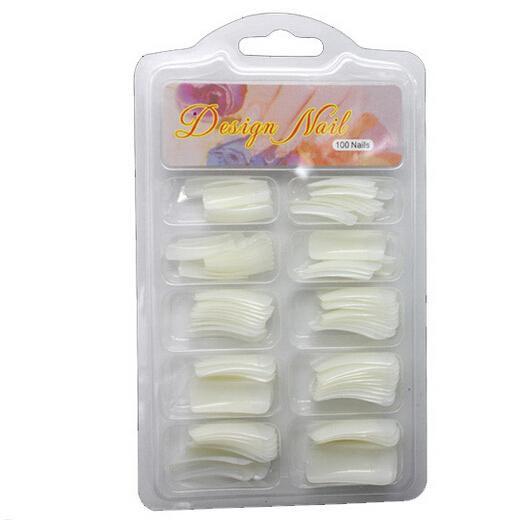 100 pcs Natural Curve Fake Nails French Style Acrylic Nai Art Tips Nail Salon Nail Makeup Set False Nails Tools(China (Mainland))