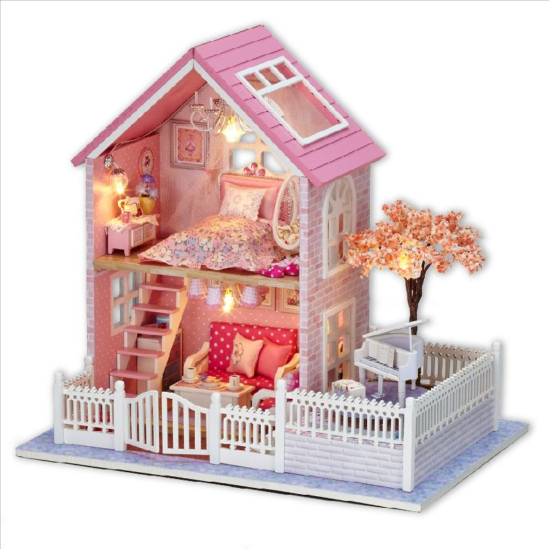 Gifts New Brand DIY Doll Houses Wooden Doll House Unisex dollhouse Kids Toy Furniture Miniature crafts free shipping A036(China (Mainland))