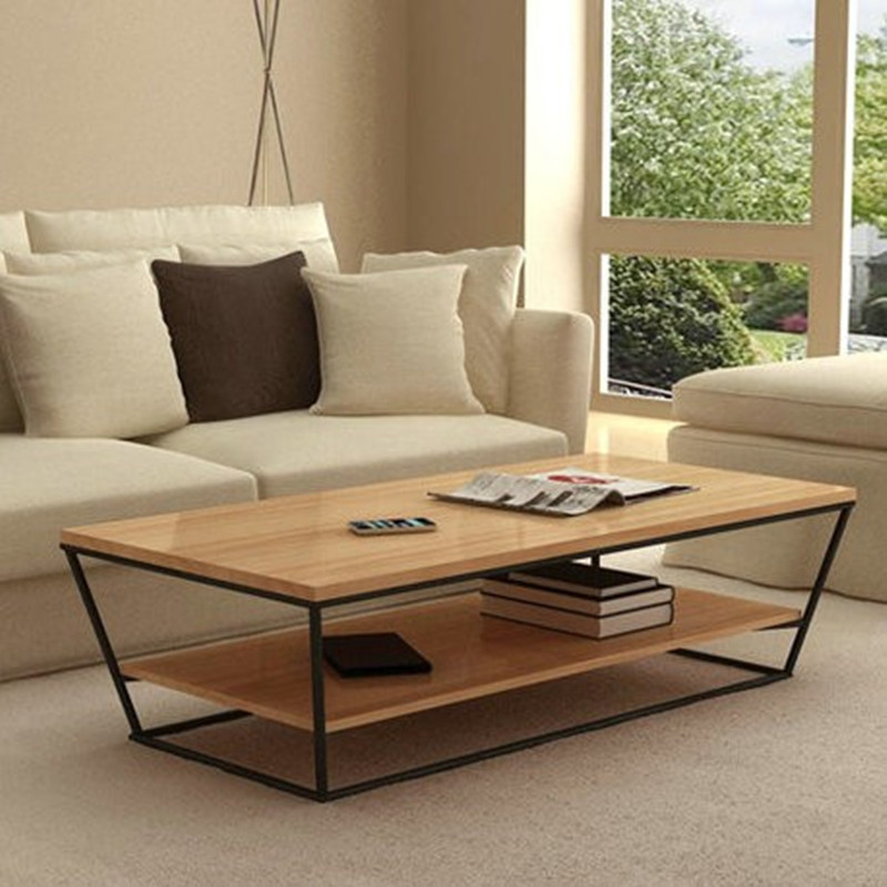 Trader retro modern minimalist personality Iron wood coffee table coffee table American country trapezoidal double coffee table(China (Mainland))