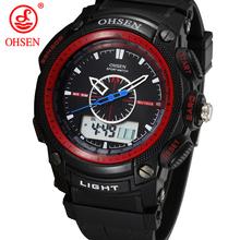 Militar del ejército OHSEN LCD Dual Core reloj para hombre deporte fecha día cronómetro luz de fondo Red Rubber Band reloj relojes de buceo