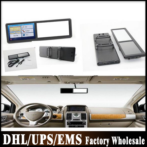 DHL Fedex 10pcs/lot HD 5 inch GPS Navitor rearview mirror GPS Navigation Preload the maps of your Country(China (Mainland))