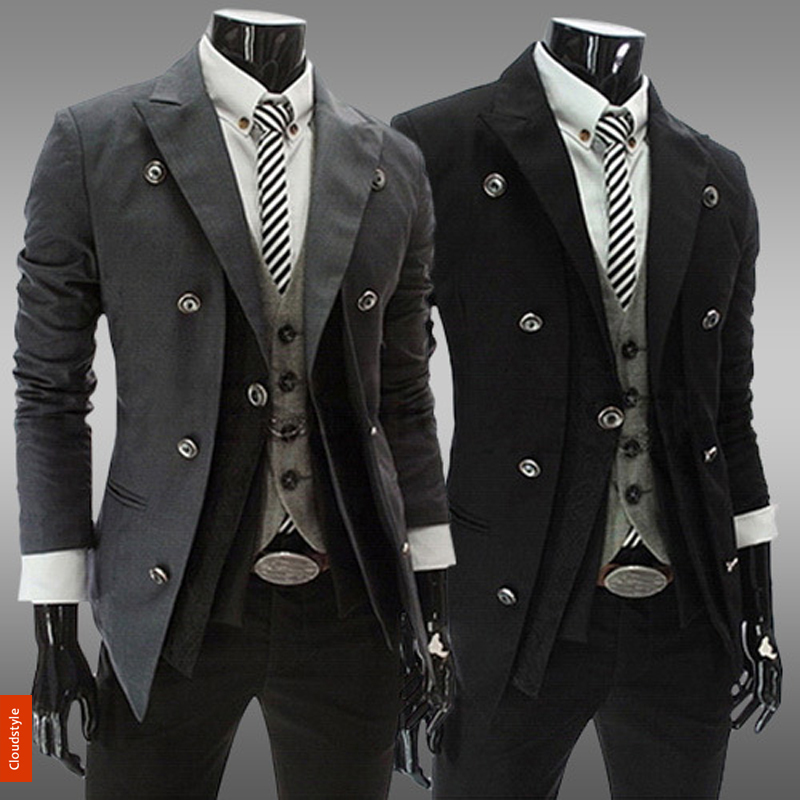 2014 New British Famous Brand Spring Casual Design Mens Formal Double Breasted Slim Suits Black Blazers For Men Jackets CoatsОдежда и ак�е��уары<br><br><br>Aliexpress
