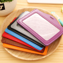 Bank Credit Card Holders women men PU Leather Neck Strap Card Bus ID holders candy colors