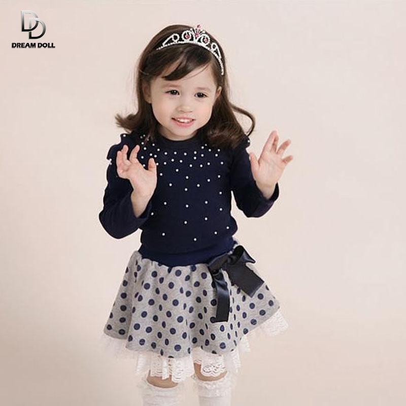 Girls' suits 2014 New arrival Autumn girls T-shirt + skirt 2pcs clothing Diamond dot bow dress skirt suit free shipping(China (Mainland))