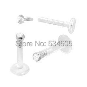 2pcs of wholesale price Czech Crystal Gem Internal Labret Monroe Lip Ring UV bio-flex Bar Piercing(China (Mainland))