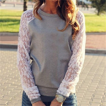 2015 Women Hoodies Spring Autumn Lace Pullover Sweatershirt Women Sport Suit Casual Hoodies Sweatshirts Women Blouse Shirts XXL(China (Mainland))